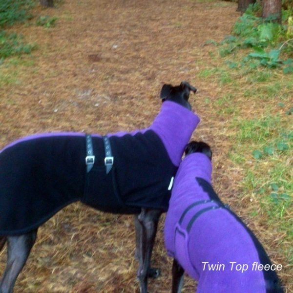 greyhound double fleece twin top purple black