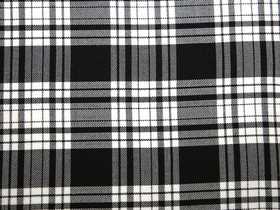 black and white larger square tartan