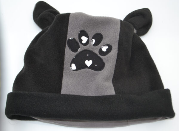 Black Grey Fleece Hat with ears and paw