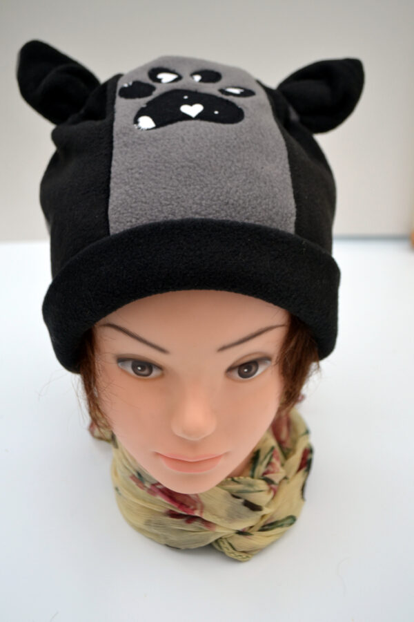 Black & Grey Fleece Hat with ears and paw