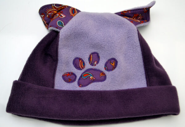 Fleece hat with ears and paw fully lined