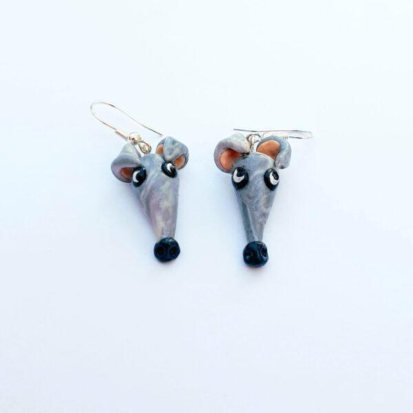Greyhound ear rings grey, Dolly