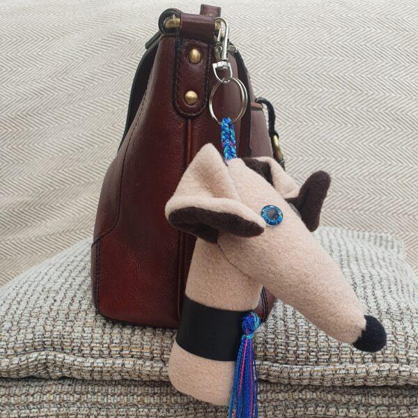 Greyhound key ring bag charm Bozo the Greyhound
