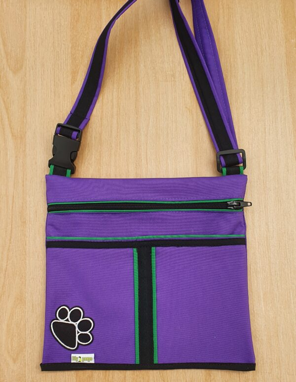 Three Pocket Dog Walking Bag Purple Green