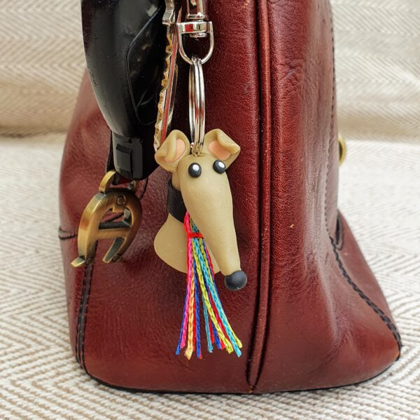 Greyhound Key Ring Taupe (Toby)